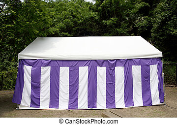 white tent for event in