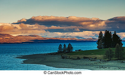 beautiful scenic of lake pukaki ,aoraki-mtcook national park...