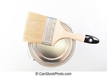 brush lay on backet - brush lay on paint backet isolated on...