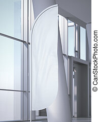 Vertical wind banner in office interior. 3d rendering