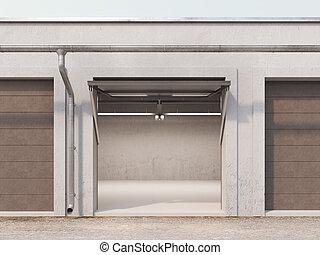 Empty storage unit with opened brown door. 3d rendering -...