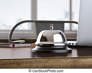 Service bell on the office table 3d rendering - Steel...