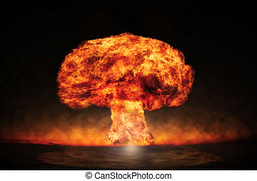 Nuclear explosion in an outdoor setting Symbol of...