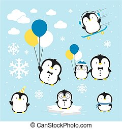 cute penguins vector.eps