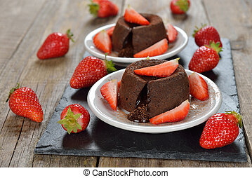 Chocolate fondant with strawberries