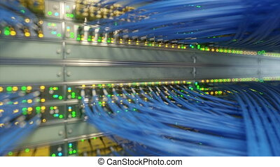 server room network. loop ready 3drendering - server room...