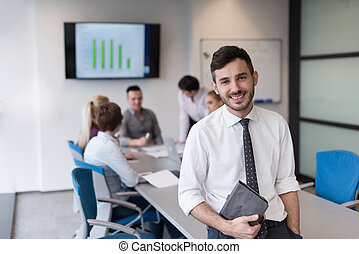 young business man with tablet at office meeting room -...
