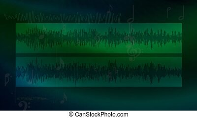 Green audio background with musical notes and audio...