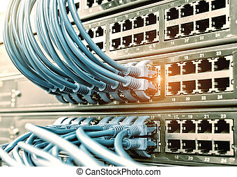 red, interruptor, y, ethernet, cables, Data, centro,...