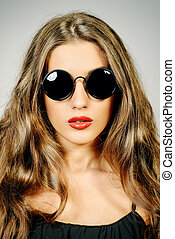 black sunglasses - Optics style Beautiful sexy girl with...