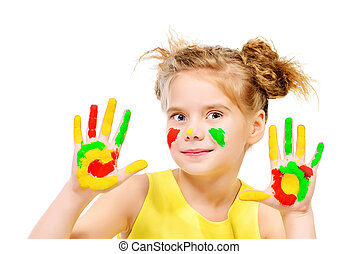 fun drawing - Cute little girl with painted colorful hands...