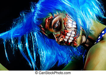 greasepaint for halloween - Fashionable zombie girl....