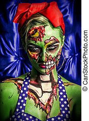 halloween female zombie - Glamorous zombie girl Portrait of...