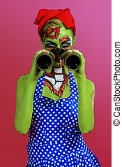 in search of a victim - Portrait of a pin-up zombie woman...