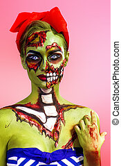 pin-up zombie girl - Portrait of a pin-up zombie woman over...