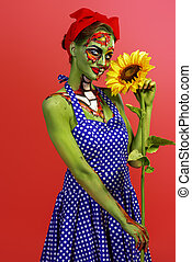 pretty female zombie - Portrait of a pin-up zombie woman...