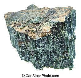 rock of Chrysotile (green asbestos) isolated - macro...