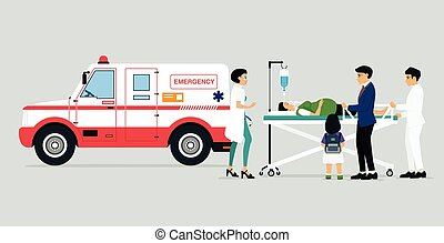 Emergency vehicles with doctors and patients and families of...