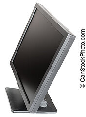 side view of old used black LCD monitor isolated