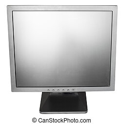direct view of old used black LCD monitor isolated