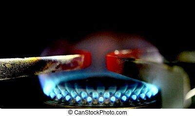 gas flame burns