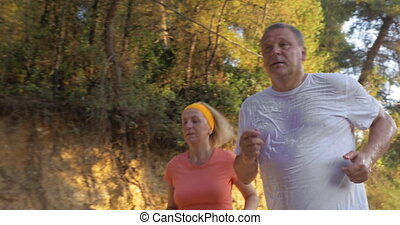 Mature Couple Jogging in Park - Steadicam shot of mature...