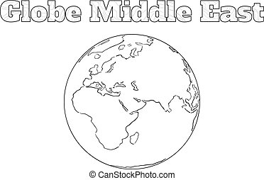 Globe Middle East view - Hand-drawn globe of the world view...
