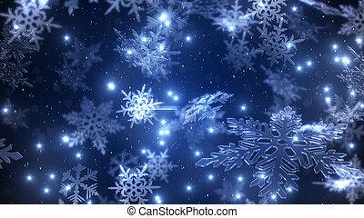Natural Christmas snowflakes with a snowfall at the star...