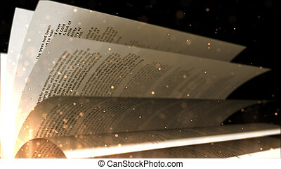 Turning pages of old book with a black background closeup