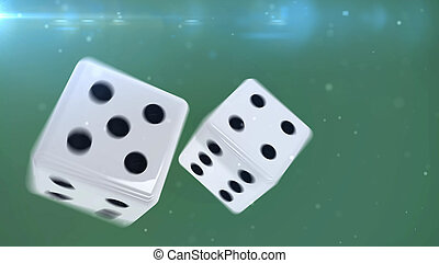 Two white gambling dices - Two blue gambling dices are...