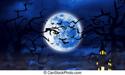 Flock of the creepy bats are flying with a full moon behind them.