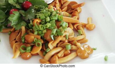 Marinated vegetables at banquet - Pickled vegetables on...