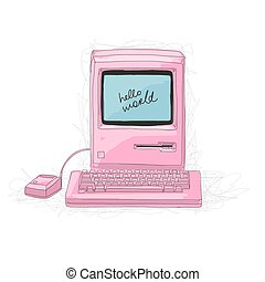 Retro computer pink, sketch for your design Vector...