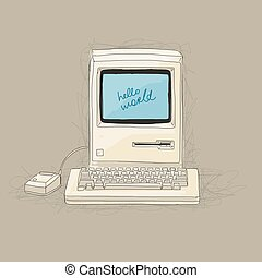 Retro computer, sketch for your design Vector illustration