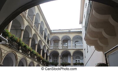 The tiered arcades courtyard of Lviv HD