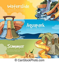 Water slides in an aquapark. - Set of Water slide in an...