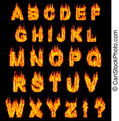 Burning Alphabet - Burning alphabet letters illustration...