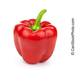 A red bell pepper isolated on white background