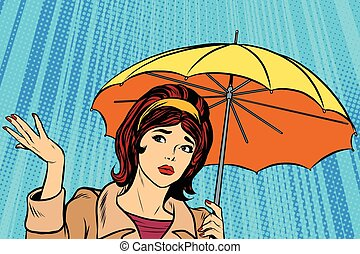 Beautiful sad girl in rain with umbrella, bad weather pop...