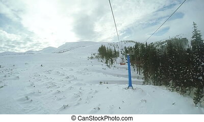 Landing from ski lift - Couple planted from ski lift