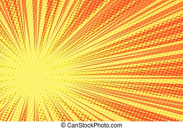 Red yellow retro rays vector background pop art retro vector