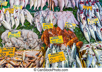 Different kinds of fish for sale at a market in Istanbul,...