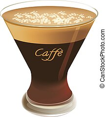 Coffee served cold shakerato - blended coffee drink served...