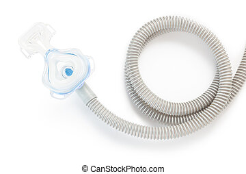 CPAP mask and hose on white background with drop shadow, to...