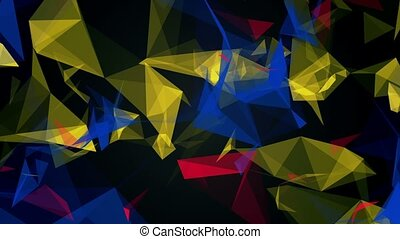 Abstract floating triangles in various colors on black