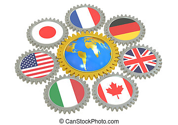G7 concept, 3D rendering isolated on white background