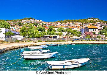City of Sibenik colorful coast, Dalmatia, Croatia