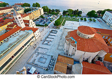 Zadar Forum square ancient architecture aerial view,...