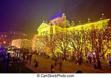 Tomislav square in Zagreb advent view - Tomislav square in...