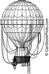 Old Air Balloon - Vintage hot air balloon with ladder...